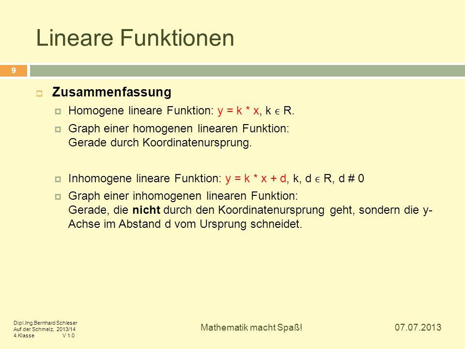 Lineare Funktionen Zusammenfassung