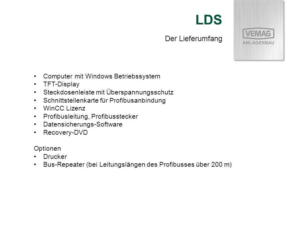 LDS Der Lieferumfang Computer mit Windows Betriebssystem TFT-Display
