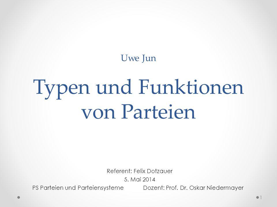 Uwe Jun Typen und Funktionen von Parteien