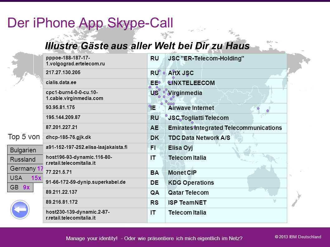 Der iPhone App Skype-Call