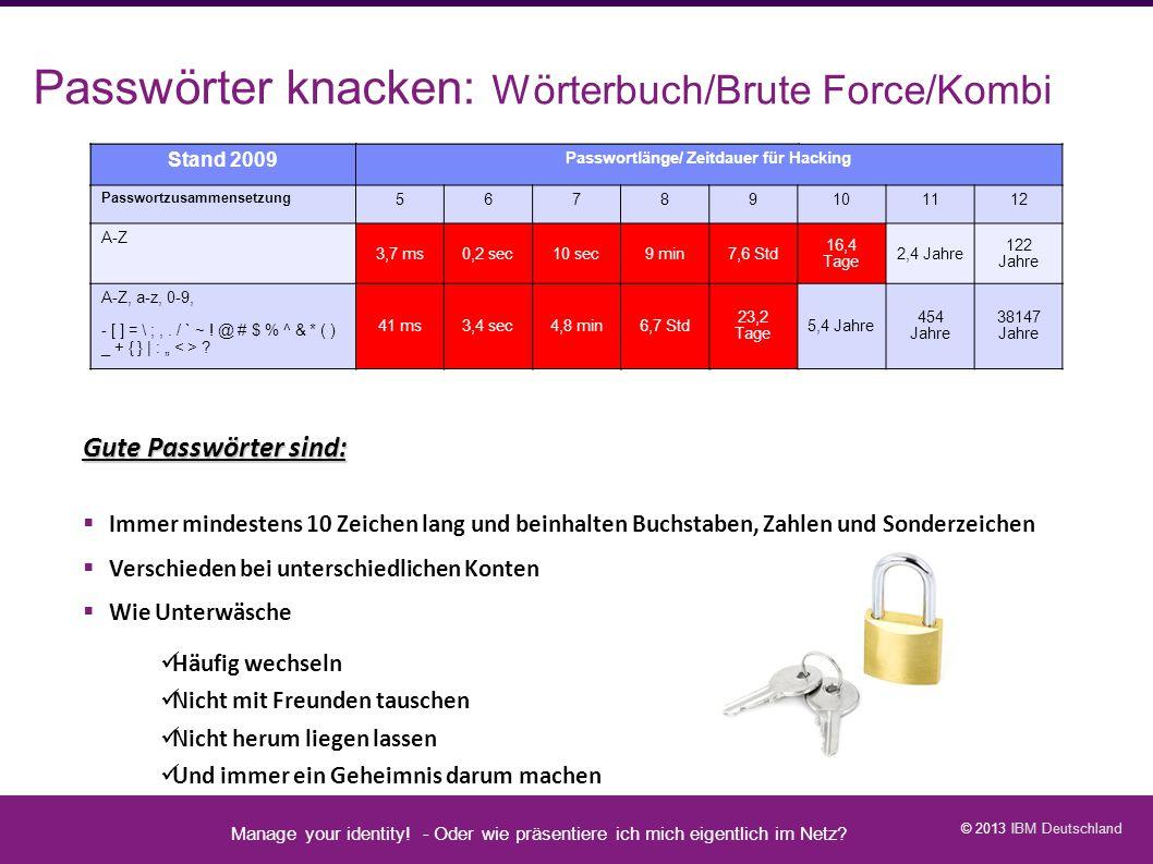 Passwörter knacken: Wörterbuch/Brute Force/Kombi
