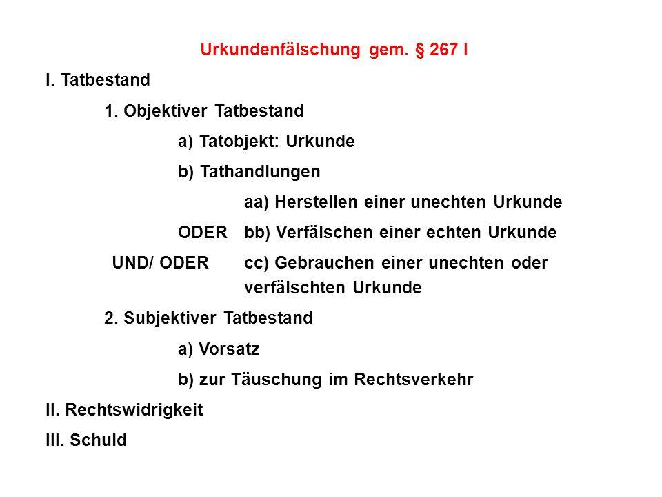Urkundenfälschung gem. § 267 I