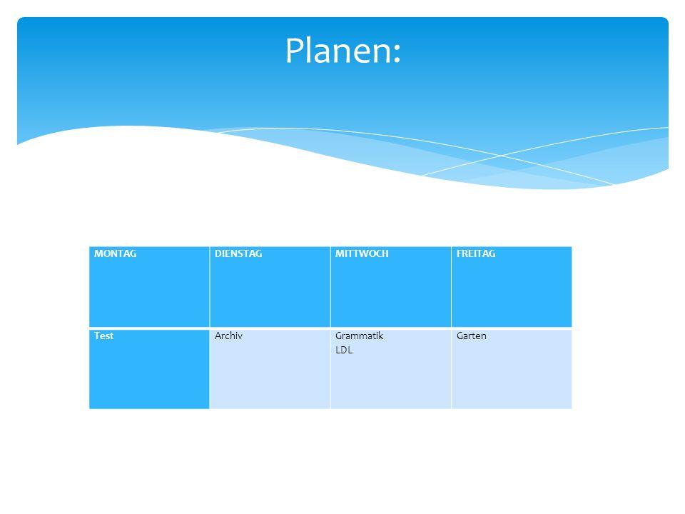 Planen: MONTAG DIENSTAG MITTWOCH FREITAG Test Archiv Grammatik LDL