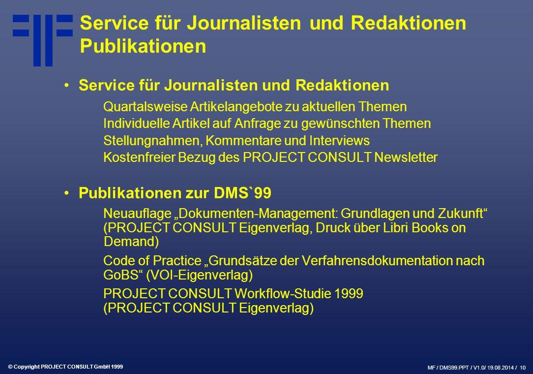 Service für Journalisten und Redaktionen Publikationen