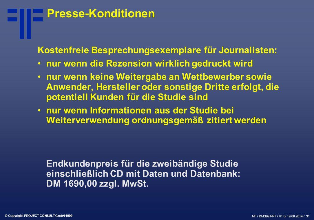 Presse-Konditionen Kostenfreie Besprechungsexemplare für Journalisten:
