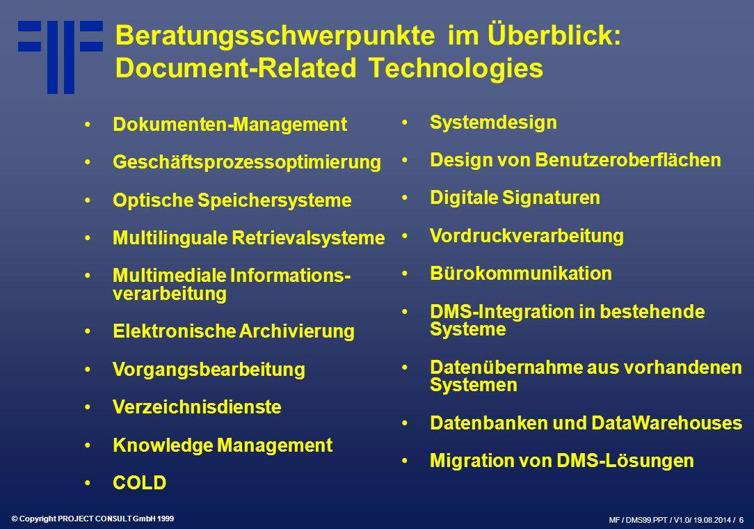 Beratungsschwerpunkte im Überblick: Document-Related Technologies
