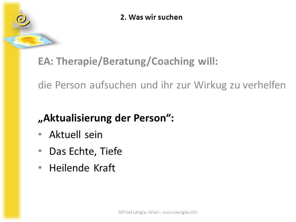EA: Therapie/Beratung/Coaching will: