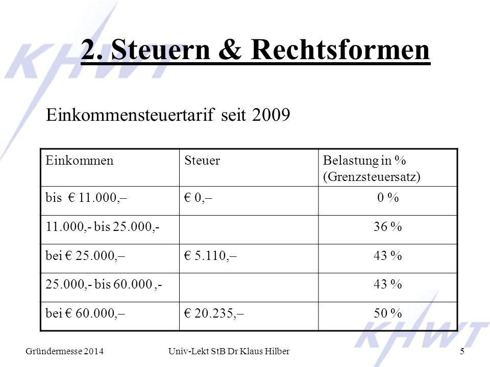 2. Steuern & Rechtsformen