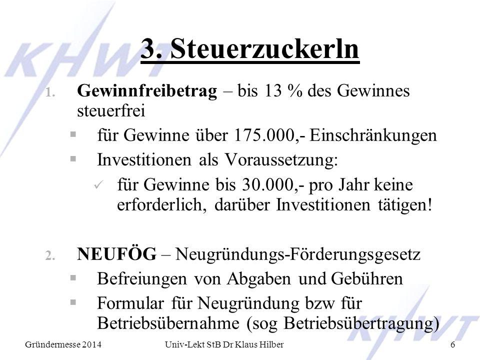 Univ-Lekt StB Dr Klaus Hilber