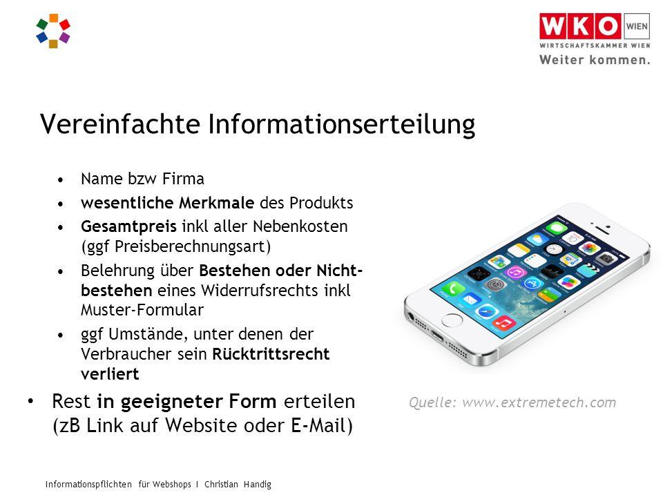 Vereinfachte Informationserteilung