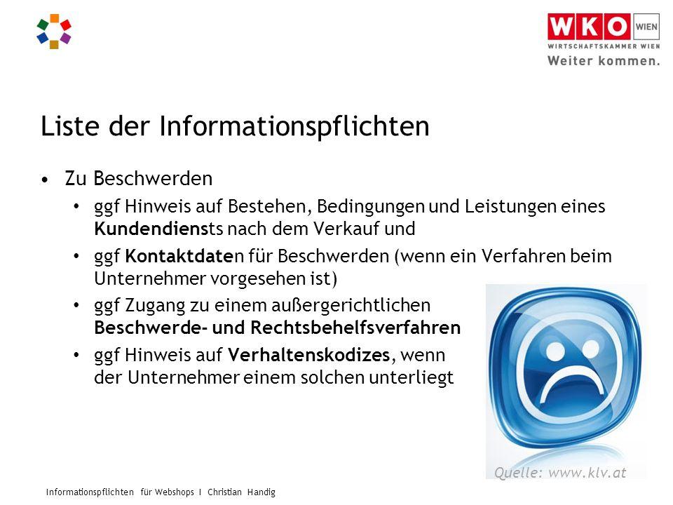 Liste der Informationspflichten