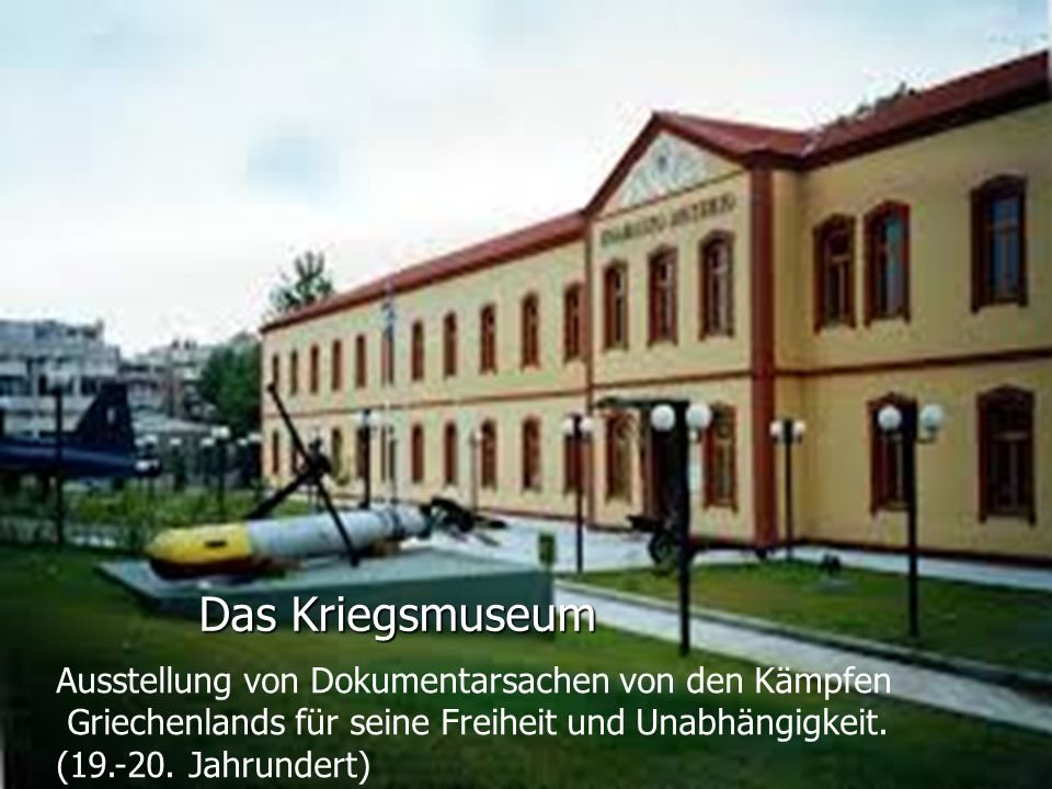 Das Kriegsmuseum Ausstellung von Dokumentarsachen von den Kämpfen