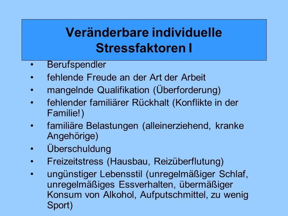 Veränderbare individuelle Stressfaktoren I