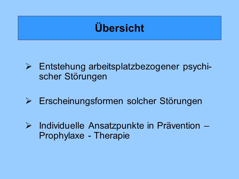 Übersicht Entstehung arbeitsplatzbezogener psychi-scher Störungen