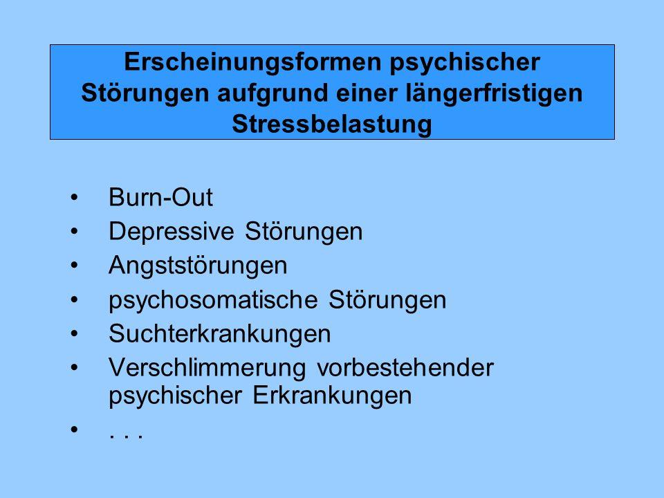Erscheinungsformen psychischer Störungen aufgrund einer längerfristigen Stressbelastung
