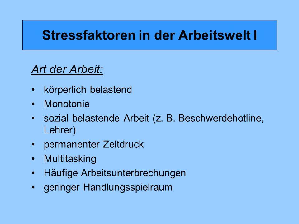 Stressfaktoren in der Arbeitswelt I