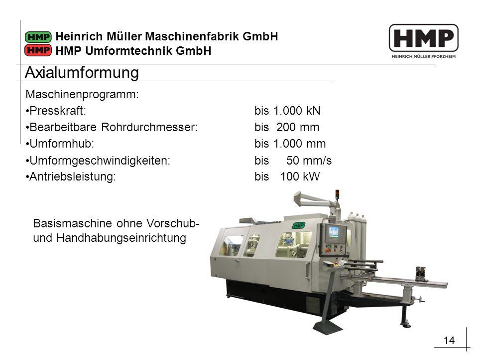 Axialumformung Maschinenprogramm: Presskraft: bis 1.000 kN