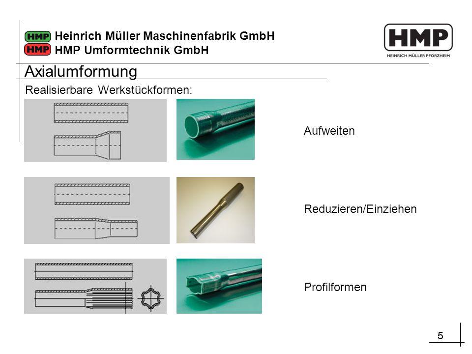 Axialumformung Realisierbare Werkstückformen: Aufweiten