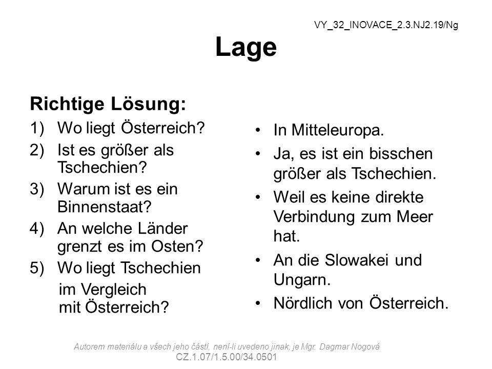 Lage Richtige Lösung: Wo liegt Österreich