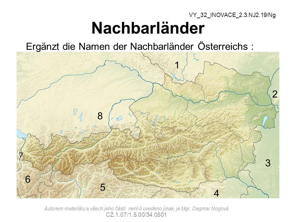Ergänzt die Namen der Nachbarländer Österreichs :