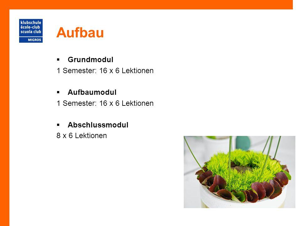 Aufbau Grundmodul 1 Semester: 16 x 6 Lektionen Aufbaumodul
