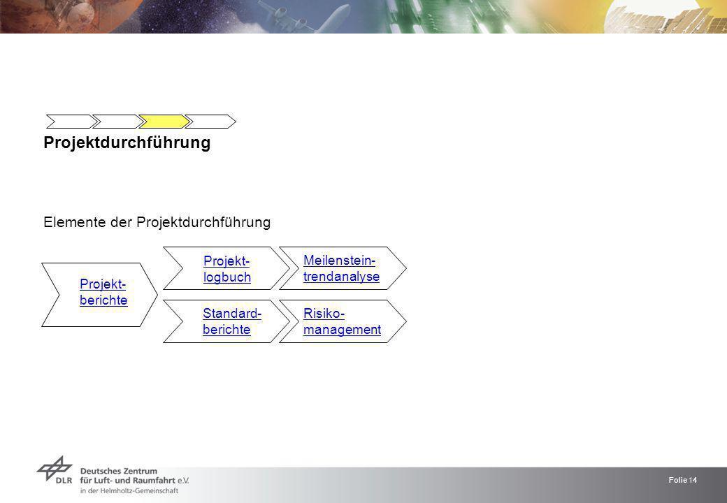 Projektdurchführung Elemente der Projektdurchführung Projekt- logbuch