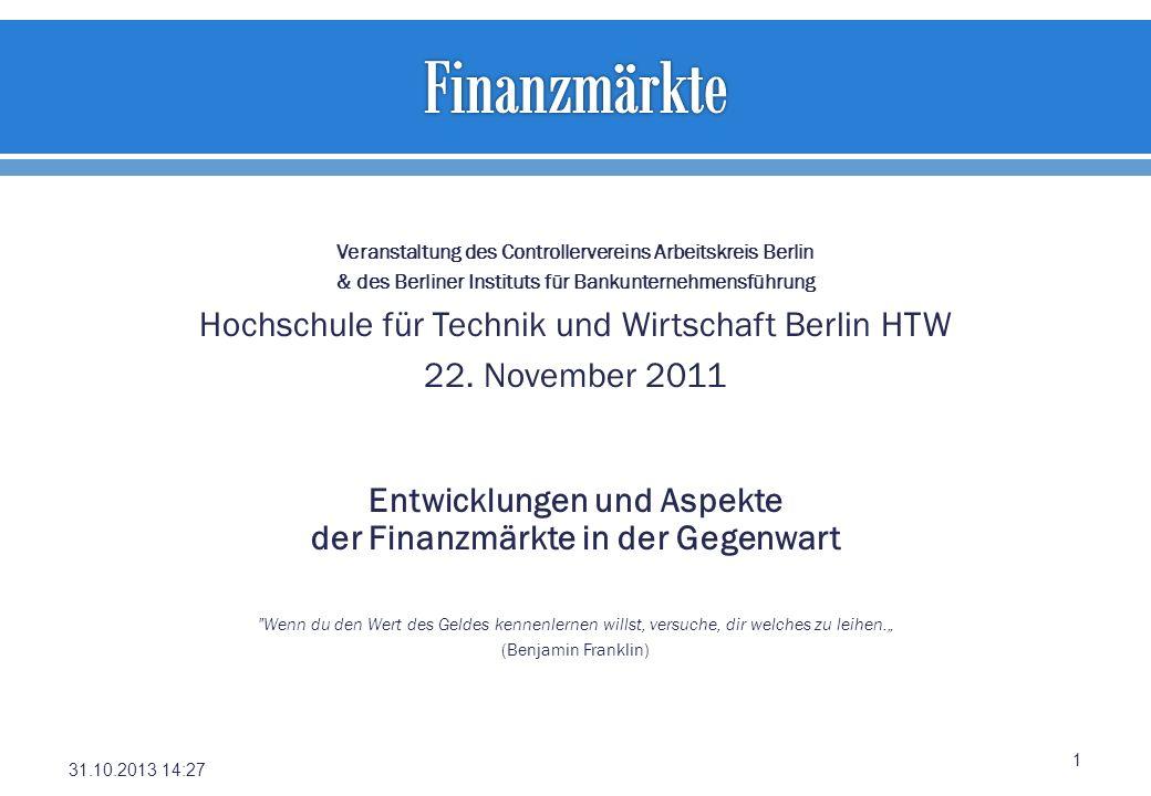 Finanzmärkte Hochschule für Technik und Wirtschaft Berlin HTW