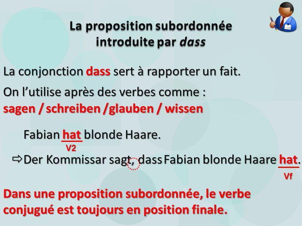 La proposition subordonnée