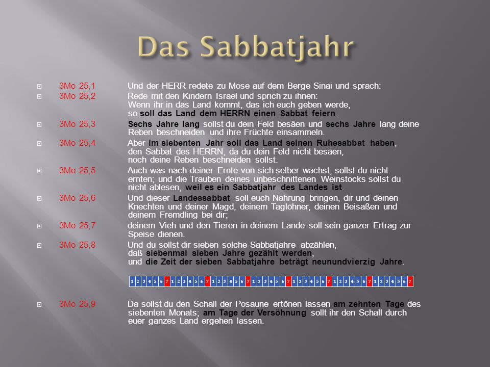 Das Sabbatjahr 3Mo 25,1 Und der HERR redete zu Mose auf dem Berge Sinai und sprach: