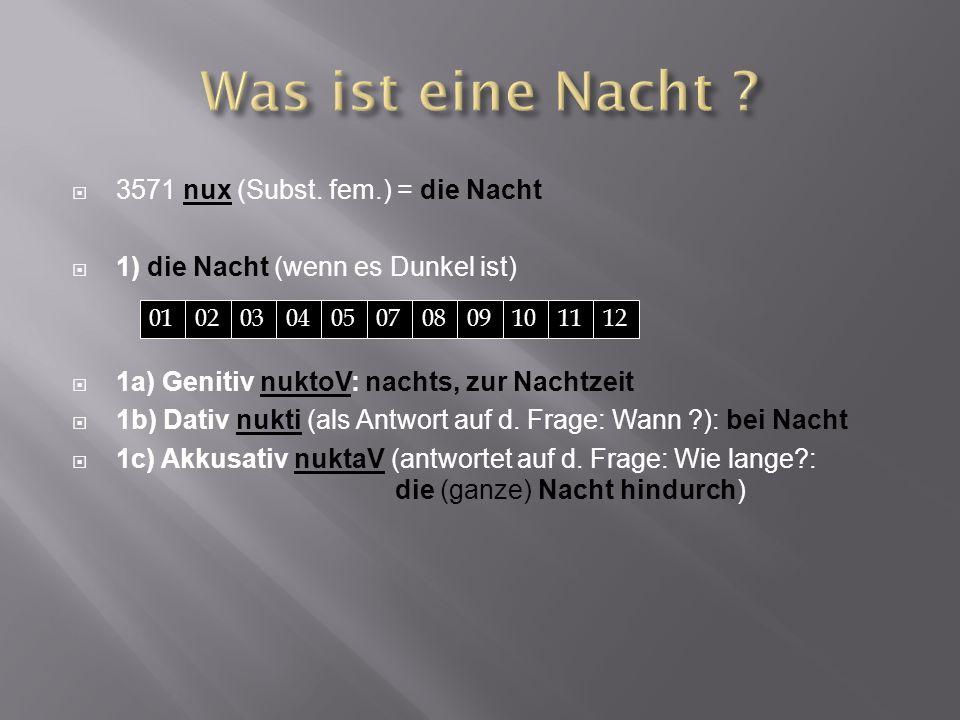 Was ist eine Nacht 3571 nux (Subst. fem.) = die Nacht