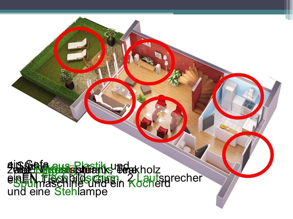 ein Sofa 4 Stühle aus Plastik und. einEN Tisch aus Glas. zwei Liegestühle aus Teakholz. einEN Kühlschrank, eine Spülmaschine und ein Kocherd.