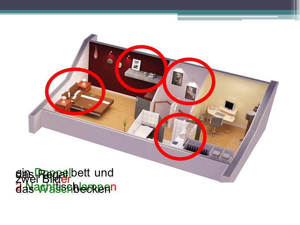 ein Doppelbett und 2 Nachttischlampen das Regal zwei Bilder das Waschbecken