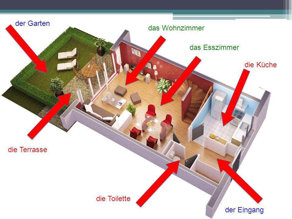 der Garten das Wohnzimmer das Esszimmer die Küche die Terrasse die Toilette der Eingang