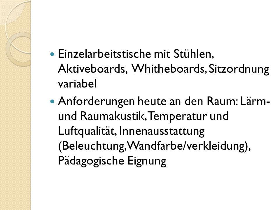 Einzelarbeitstische mit Stühlen, Aktiveboards, Whitheboards, Sitzordnung variabel