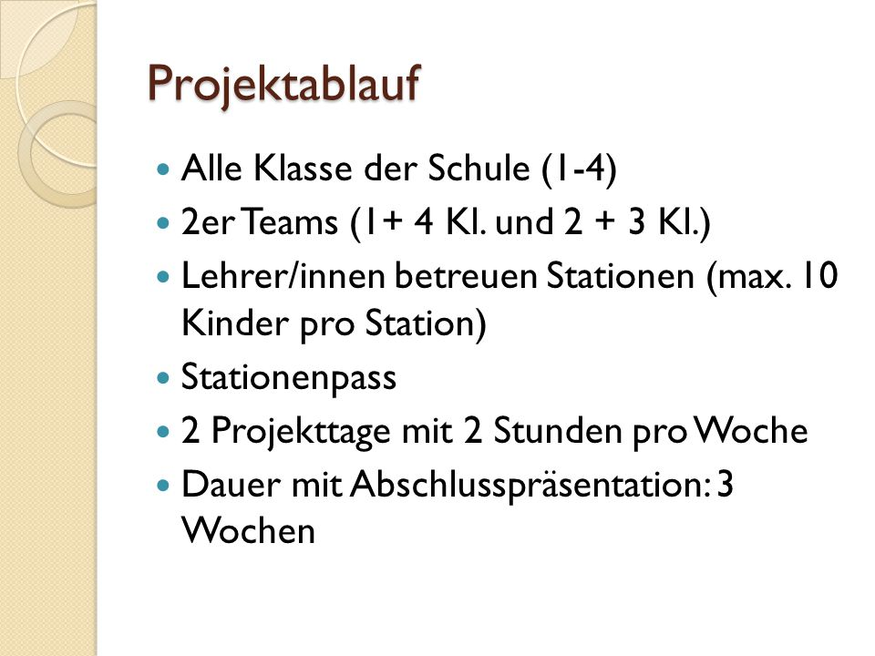 Projektablauf Alle Klasse der Schule (1-4)