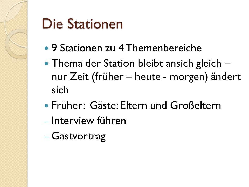 Die Stationen 9 Stationen zu 4 Themenbereiche
