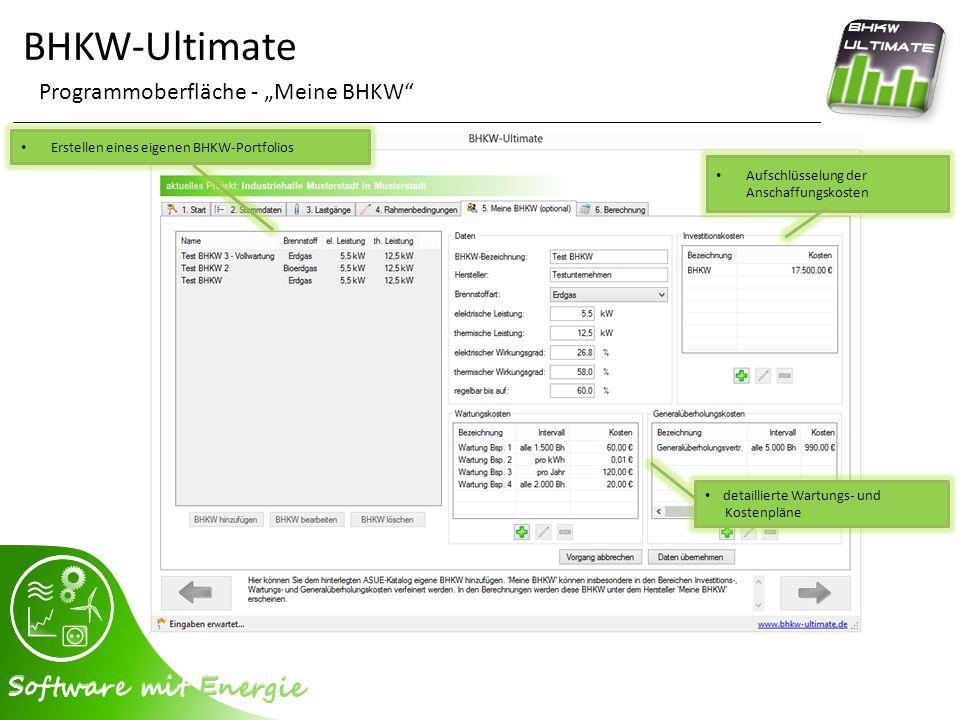 """BHKW-Ultimate Programmoberfläche - """"Meine BHKW"""