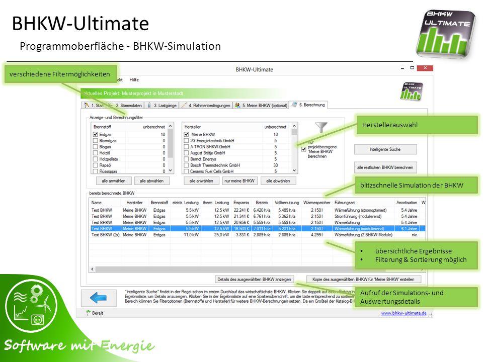 BHKW-Ultimate Programmoberfläche - BHKW-Simulation