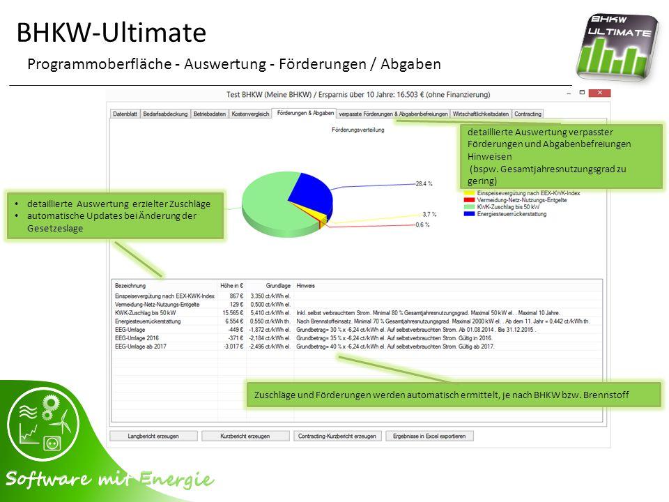 BHKW-Ultimate Programmoberfläche - Auswertung - Förderungen / Abgaben