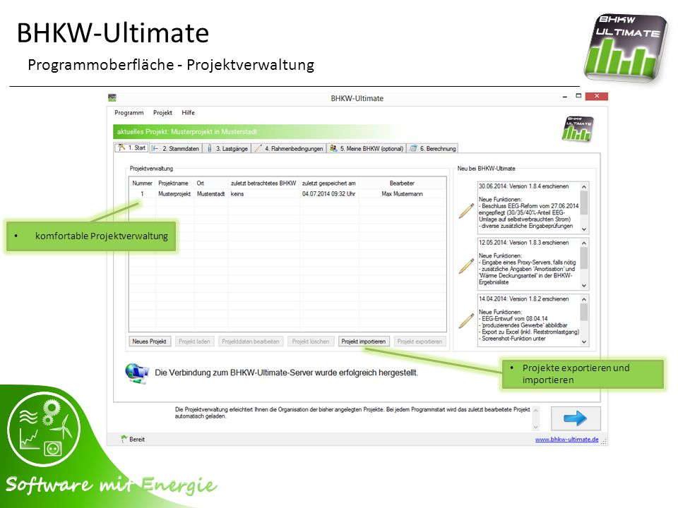 BHKW-Ultimate Programmoberfläche - Projektverwaltung