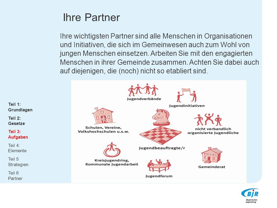 Ihre Partner Ihre wichtigsten Partner sind alle Menschen in Organisationen und Initiativen, die sich im Gemeinwesen auch zum Wohl von jungen Menschen einsetzen. Arbeiten Sie mit den engagierten Menschen in ihrer Gemeinde zusammen. Achten Sie dabei auch auf diejenigen, die (noch) nicht so etabliert sind.