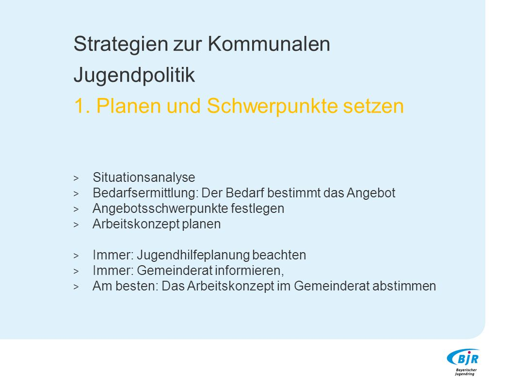 Strategien zur Kommunalen Jugendpolitik 1