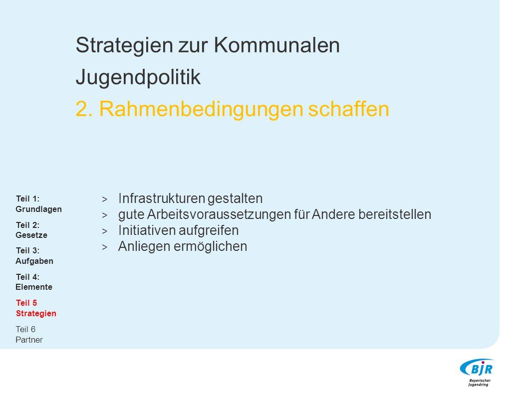 Strategien zur Kommunalen Jugendpolitik 2. Rahmenbedingungen schaffen