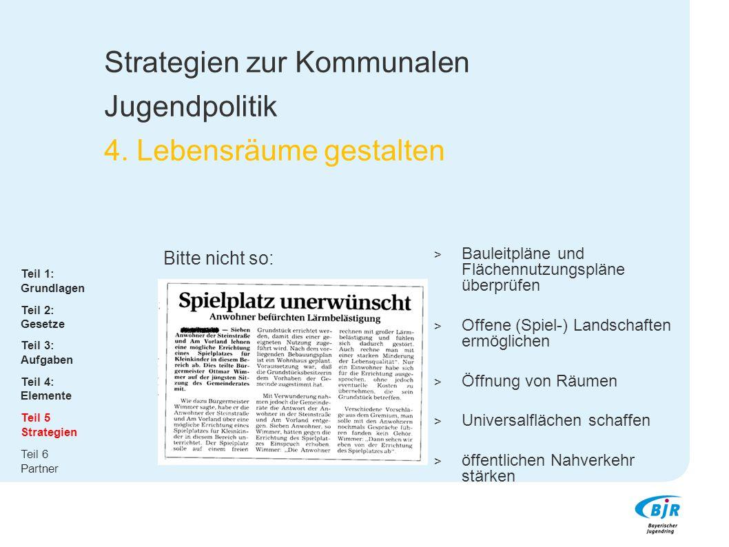 Strategien zur Kommunalen Jugendpolitik 4. Lebensräume gestalten