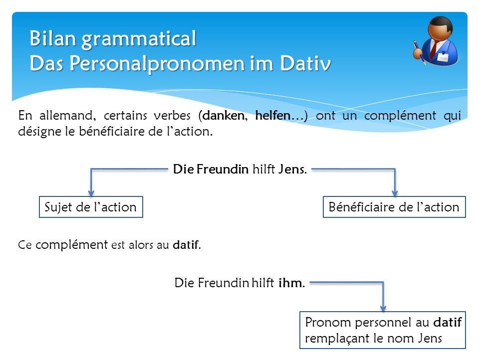 Bilan grammatical Das Personalpronomen im Dativ