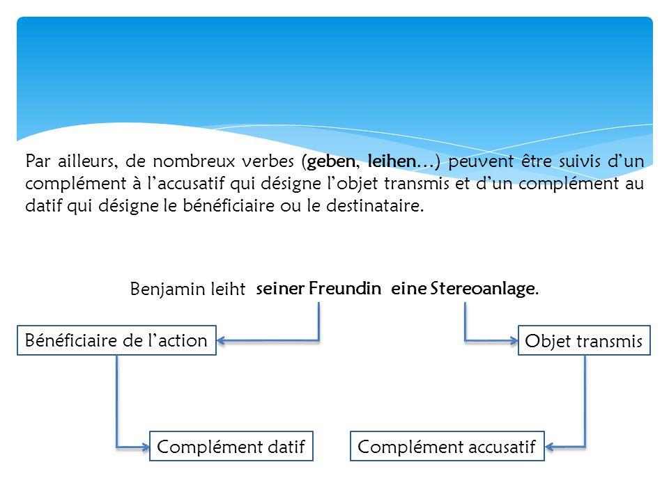 Par ailleurs, de nombreux verbes (geben, leihen…) peuvent être suivis d'un complément à l'accusatif qui désigne l'objet transmis et d'un complément au datif qui désigne le bénéficiaire ou le destinataire.