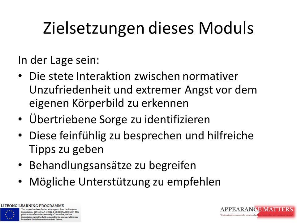 Zielsetzungen dieses Moduls