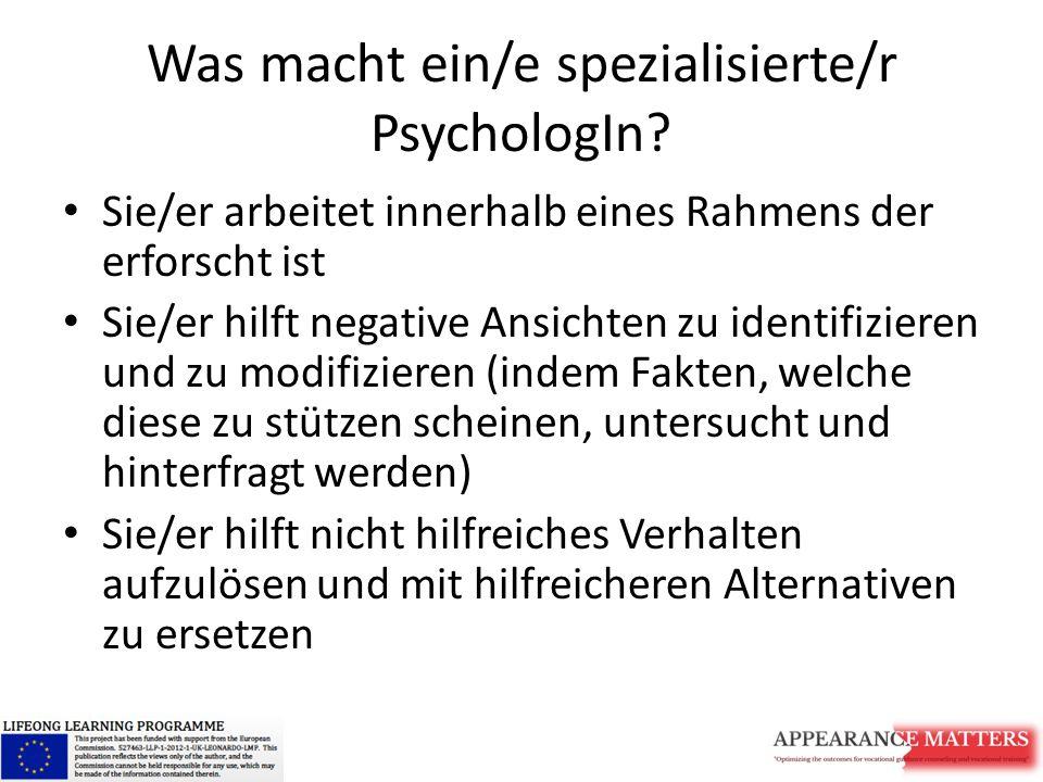 Was macht ein/e spezialisierte/r PsychologIn