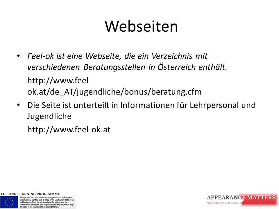 Webseiten Feel-ok ist eine Webseite, die ein Verzeichnis mit verschiedenen Beratungsstellen in Österreich enthält.