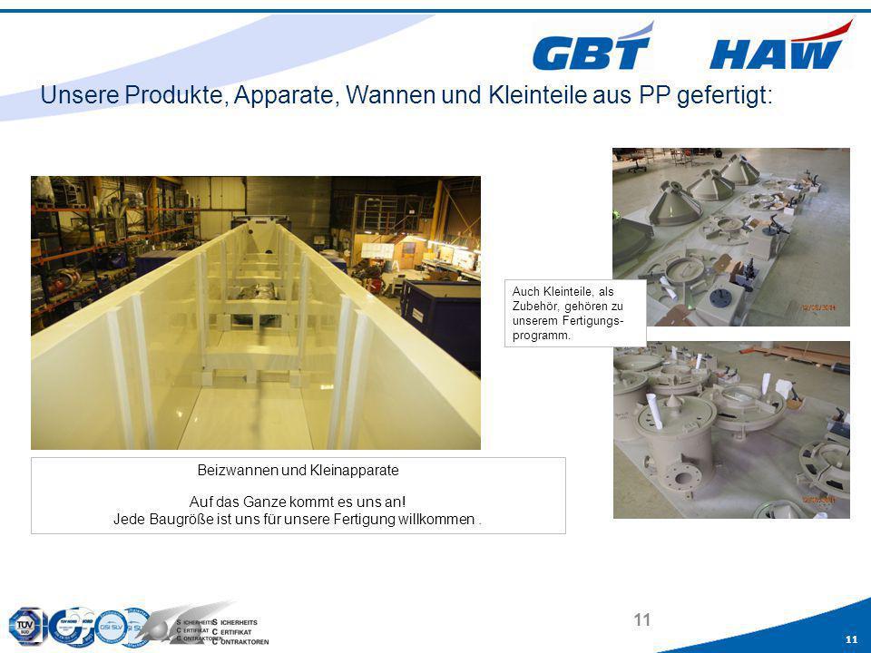 Unsere Produkte, Apparate, Wannen und Kleinteile aus PP gefertigt: